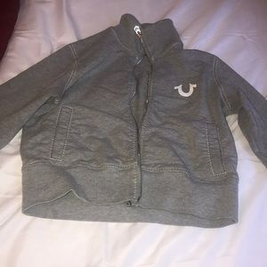 True Religion Gray Long Sleeve Zip Up Jacket
